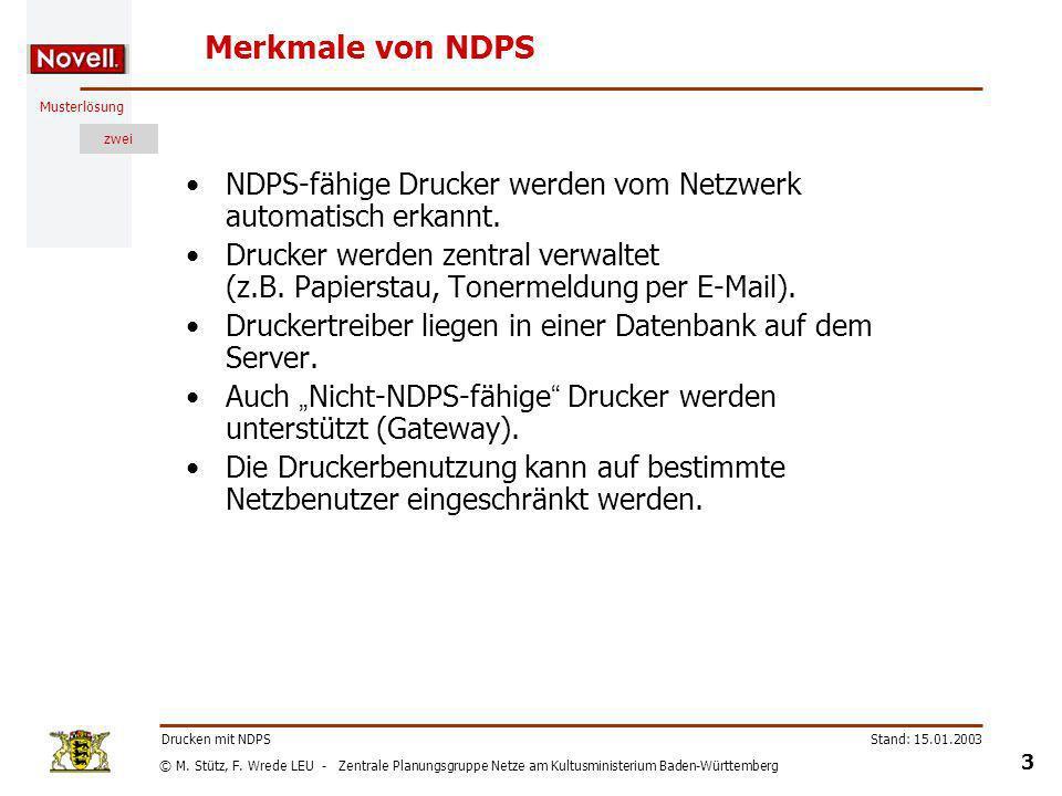 Merkmale von NDPS NDPS-fähige Drucker werden vom Netzwerk automatisch erkannt.