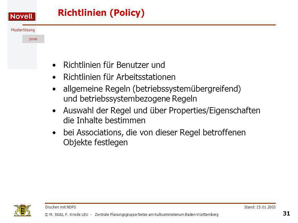 Richtlinien (Policy) Richtlinien für Benutzer und