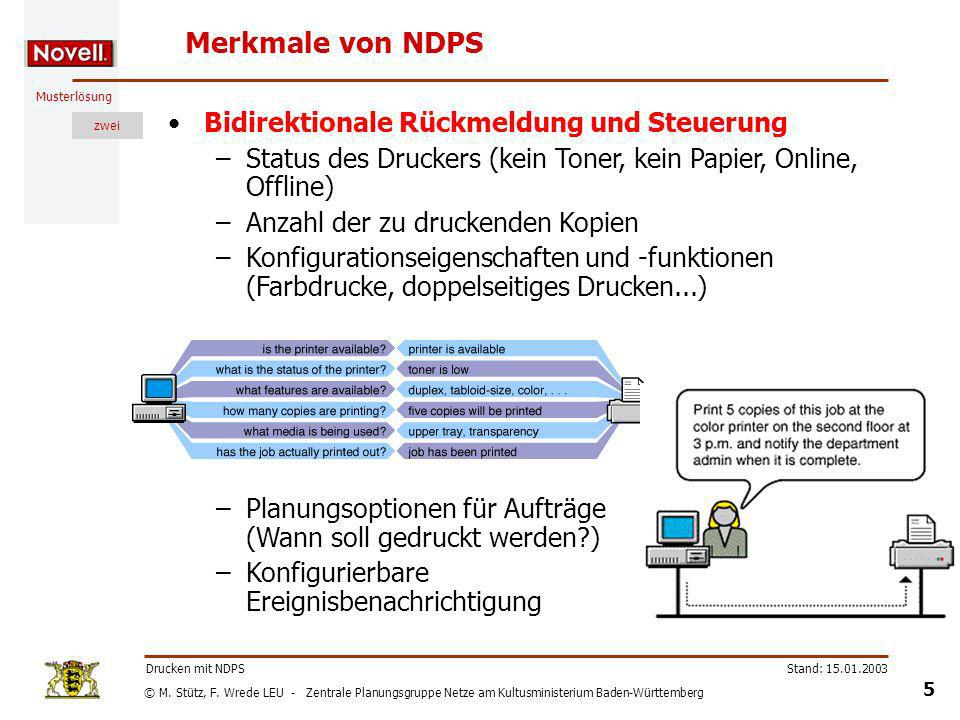 Merkmale von NDPS Bidirektionale Rückmeldung und Steuerung