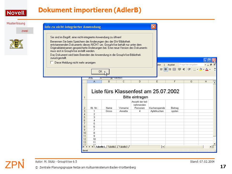 Dokument importieren (AdlerB)