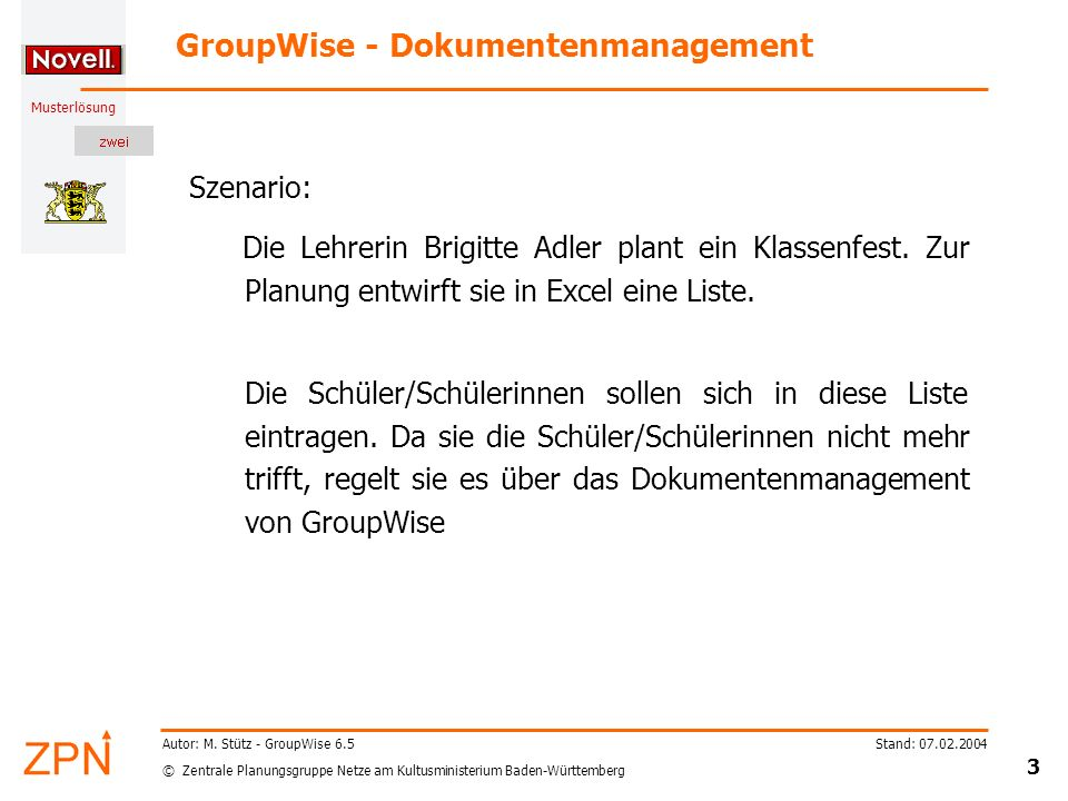 GroupWise - Dokumentenmanagement