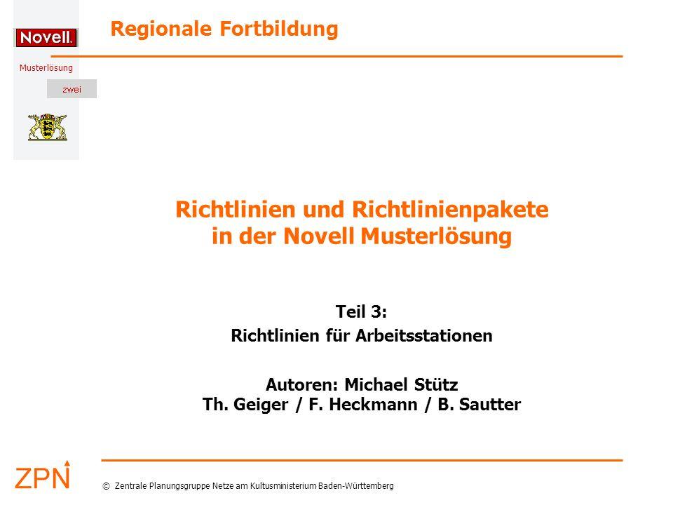 Richtlinien und Richtlinienpakete in der Novell Musterlösung