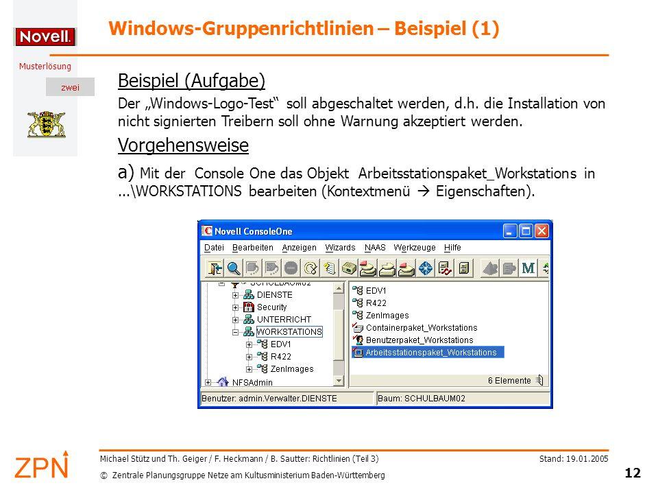 Windows-Gruppenrichtlinien – Beispiel (1)