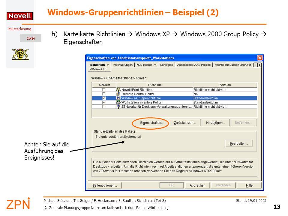 Windows-Gruppenrichtlinien – Beispiel (2)