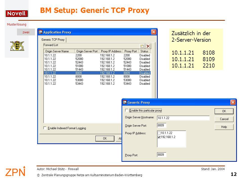 BM Setup: Generic TCP Proxy
