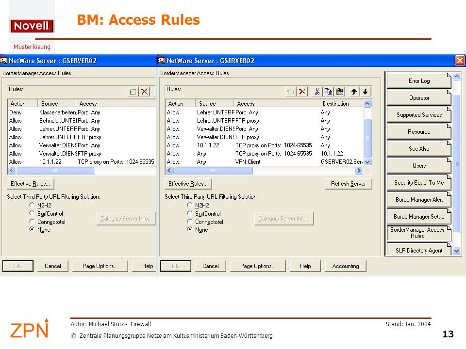 BM: Access Rules Autor: Michael Stütz - Firewall Stand: Jan. 2004