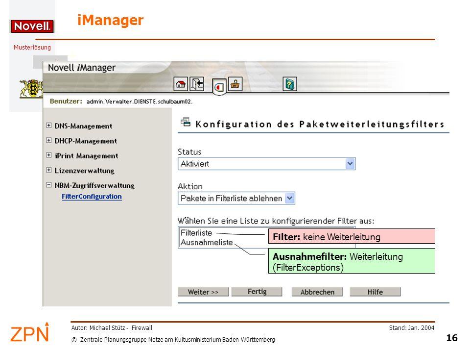 iManager Filter: keine Weiterleitung