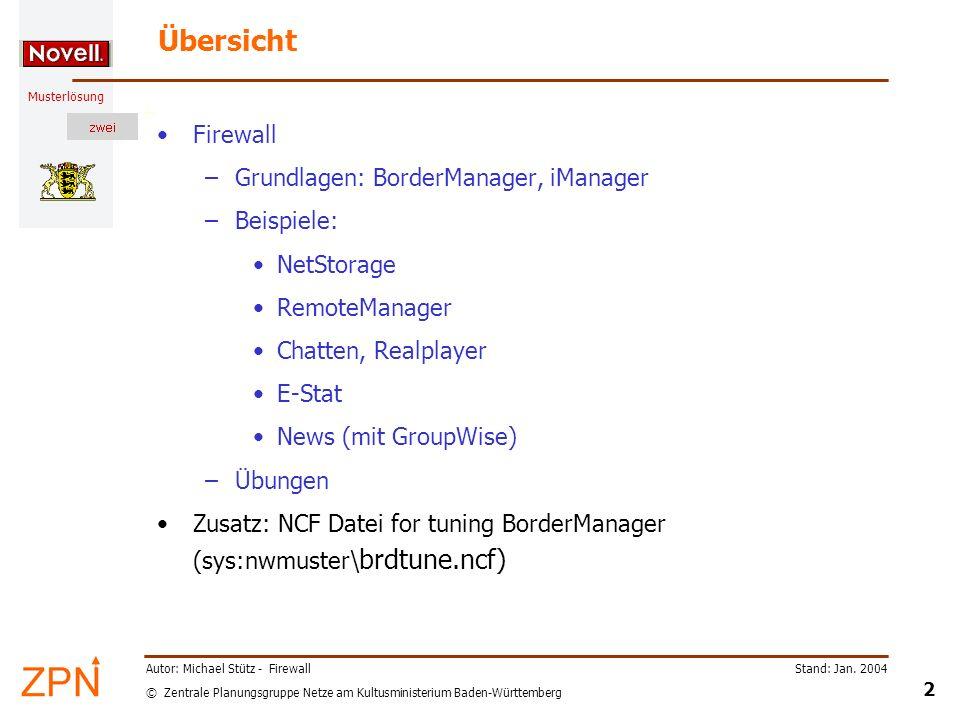 Übersicht Firewall Grundlagen: BorderManager, iManager Beispiele: