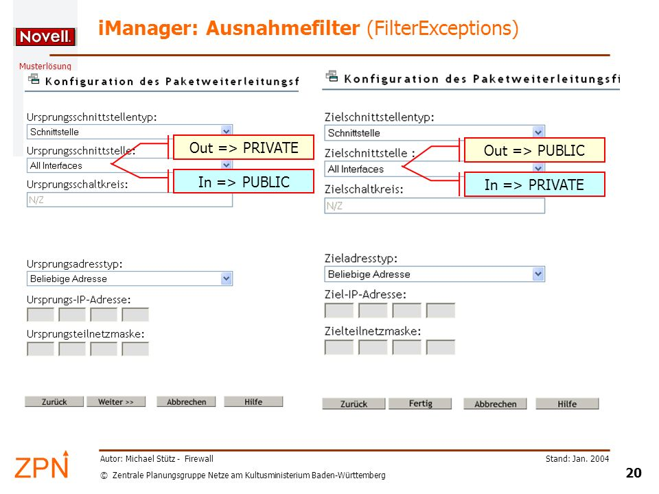 iManager: Ausnahmefilter (FilterExceptions)