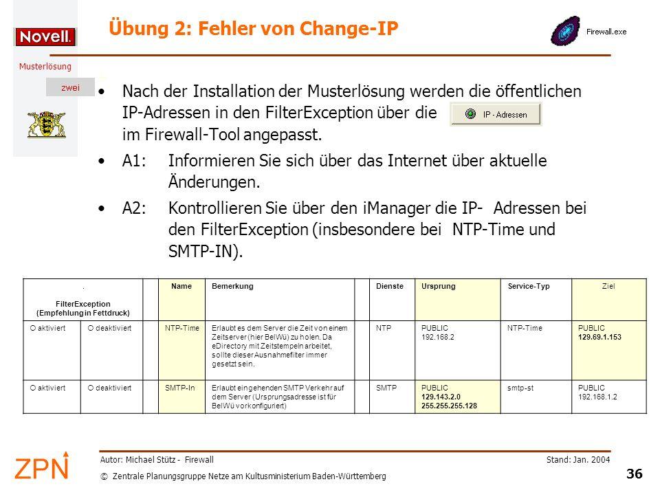 Übung 2: Fehler von Change-IP