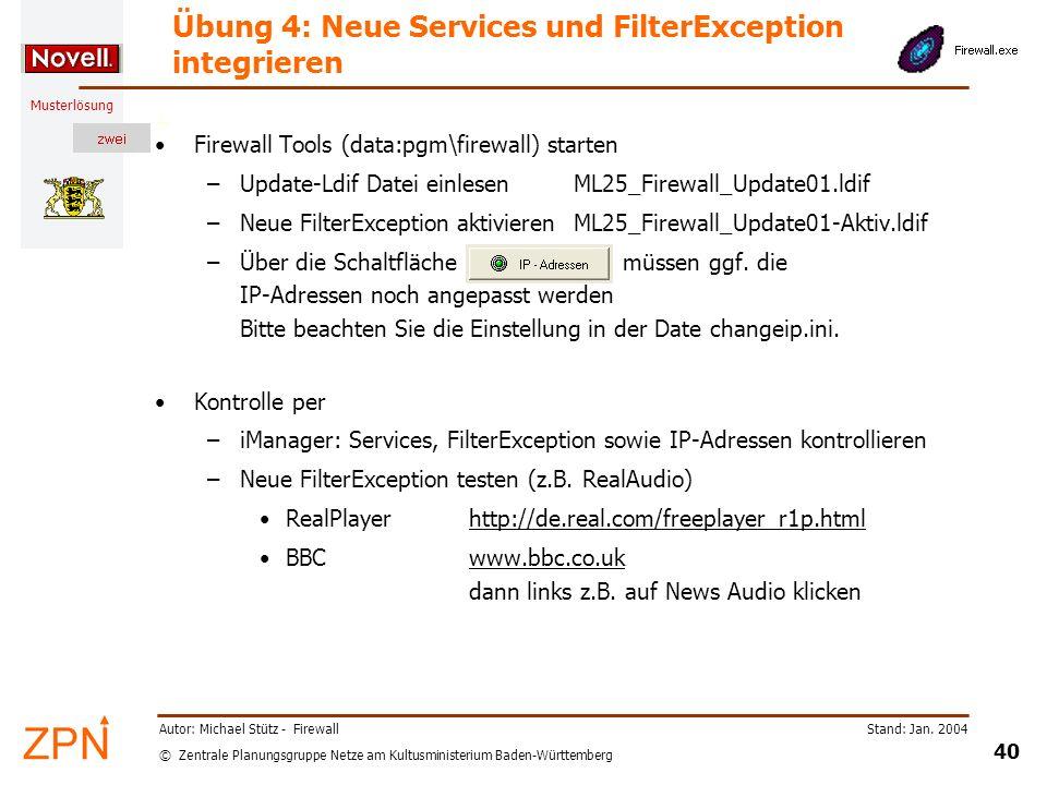 Übung 4: Neue Services und FilterException integrieren