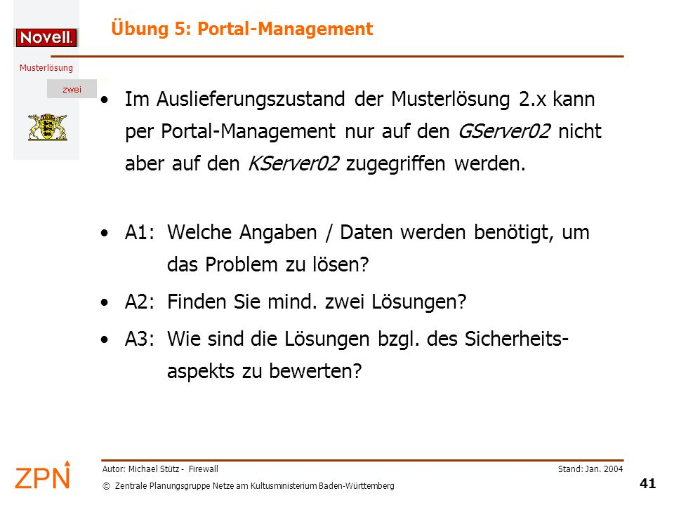 Übung 5: Portal-Management