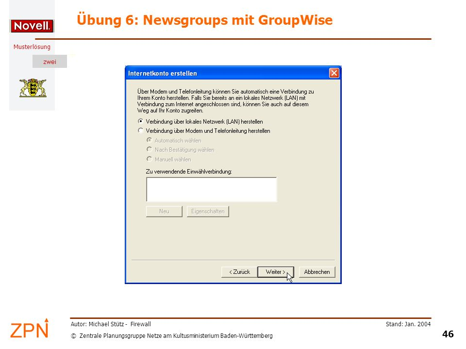 Übung 6: Newsgroups mit GroupWise