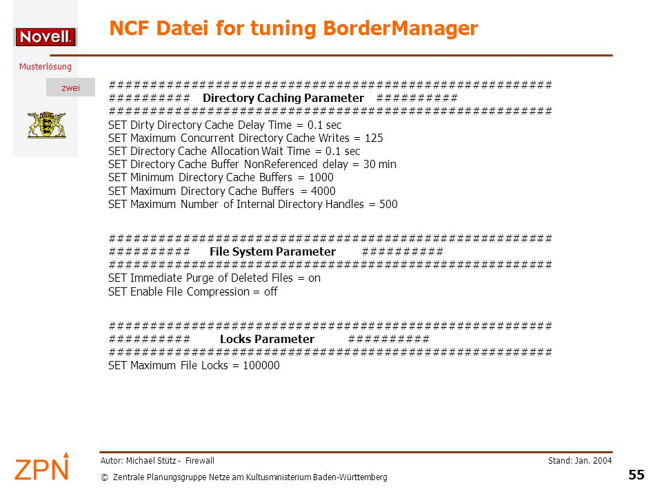 NCF Datei for tuning BorderManager
