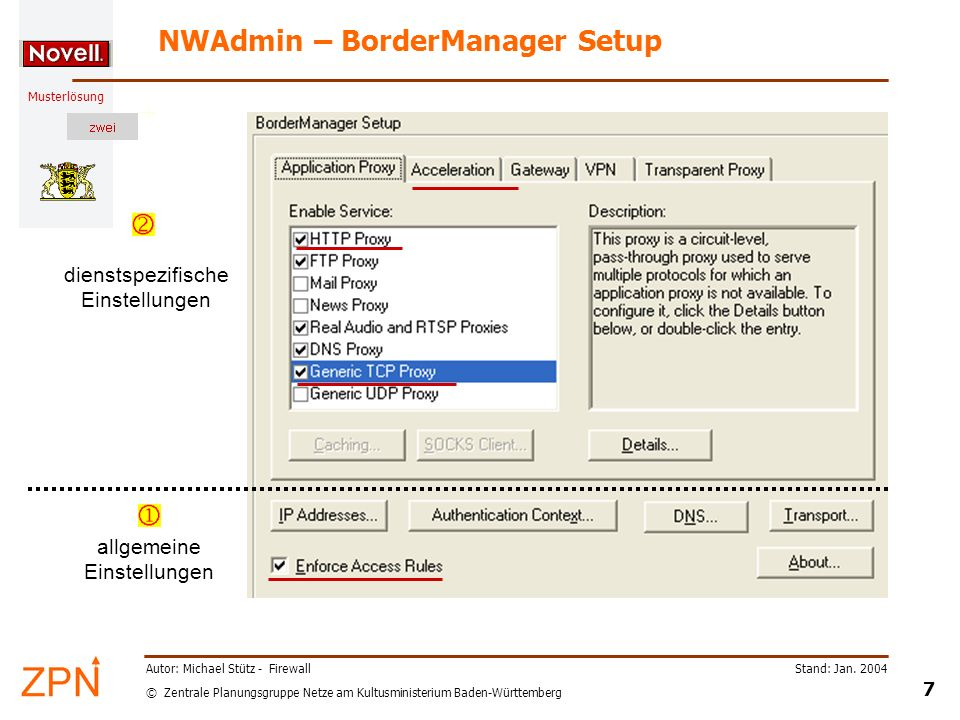 NWAdmin – BorderManager Setup