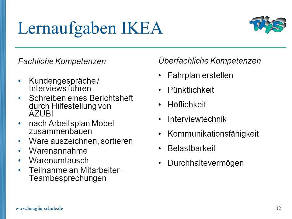 Lernaufgaben IKEA Überfachliche Kompetenzen Fahrplan erstellen