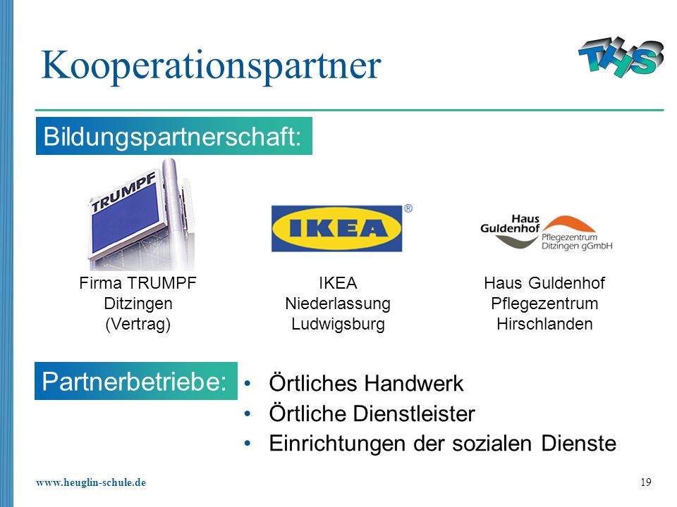 Kooperationspartner Bildungspartnerschaft: Partnerbetriebe: