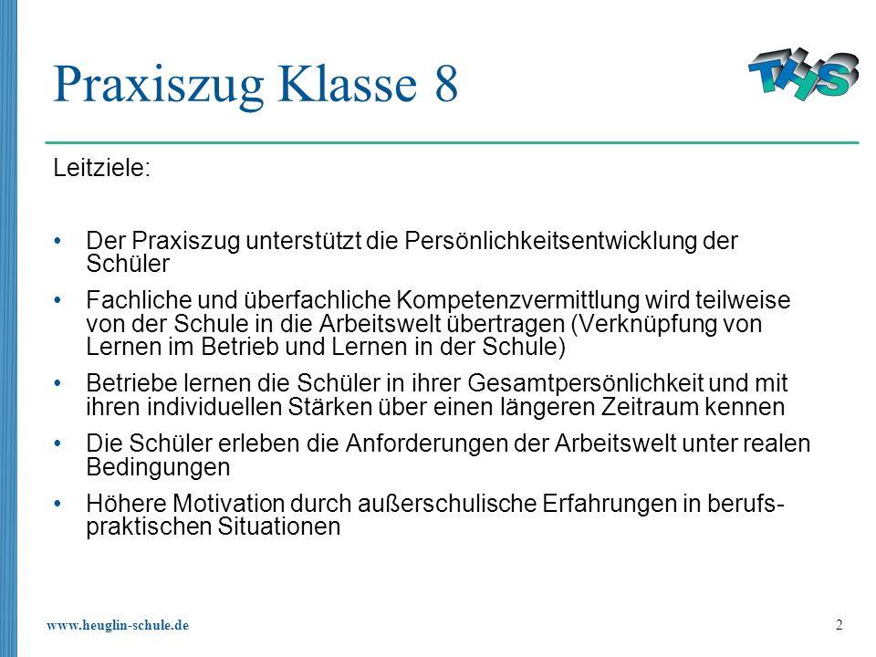 Praxiszug Klasse 8 Leitziele:
