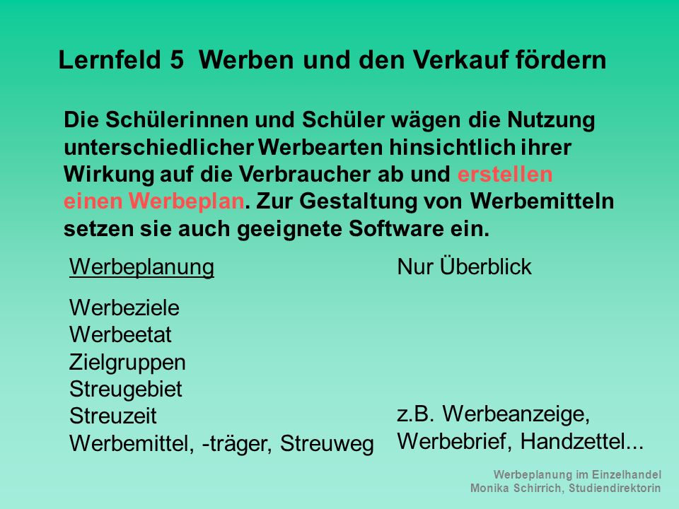 Lernfeld 5 Werben und den Verkauf fördern