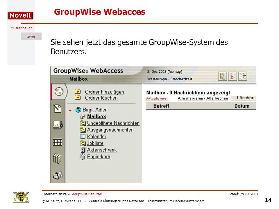 GroupWise Webacces Sie sehen jetzt das gesamte GroupWise-System des Benutzers. Internetdienste – GroupWise Benutzer.