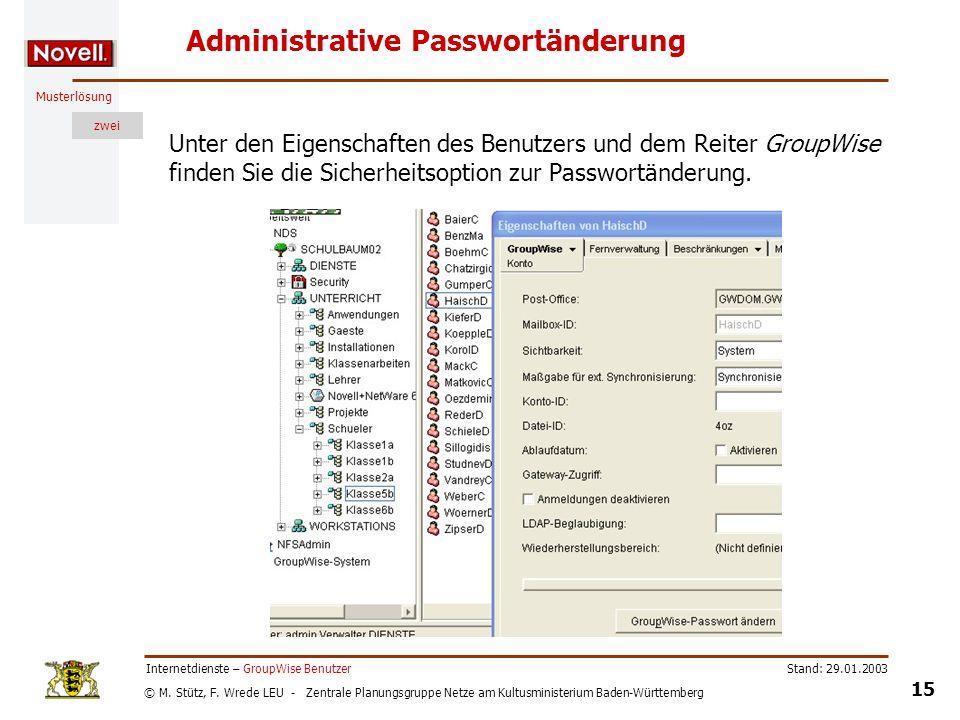 Administrative Passwortänderung