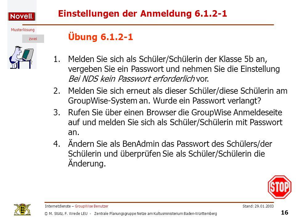 Einstellungen der Anmeldung 6.1.2-1
