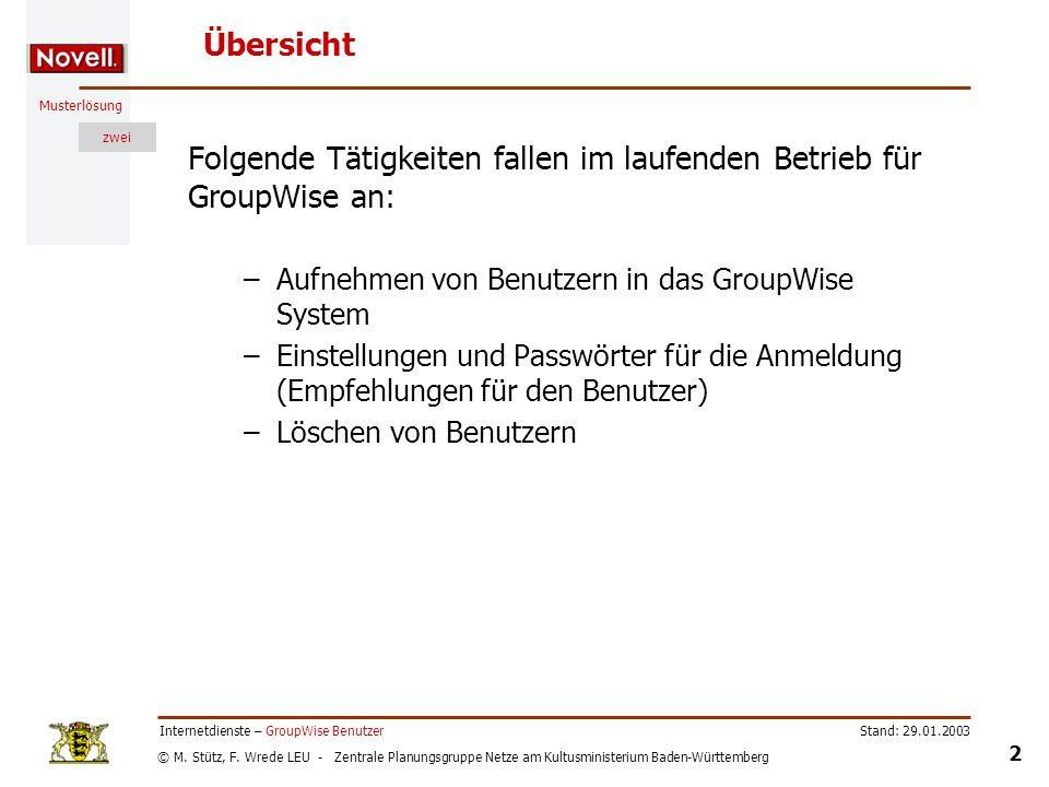 Folgende Tätigkeiten fallen im laufenden Betrieb für GroupWise an: