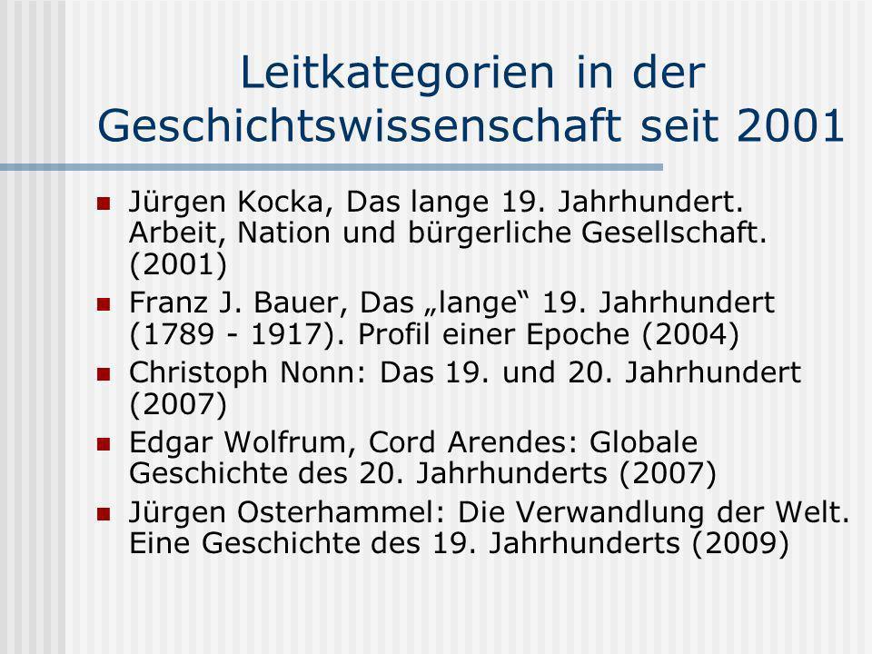 Leitkategorien in der Geschichtswissenschaft seit 2001