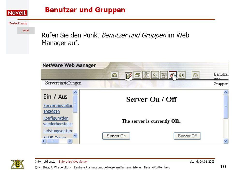 Benutzer und Gruppen Rufen Sie den Punkt Benutzer und Gruppen im Web Manager auf. Internetdienste – Enterprise Web Server.