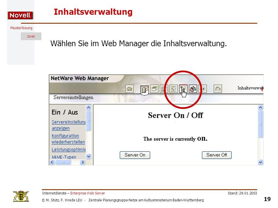 Inhaltsverwaltung Wählen Sie im Web Manager die Inhaltsverwaltung.