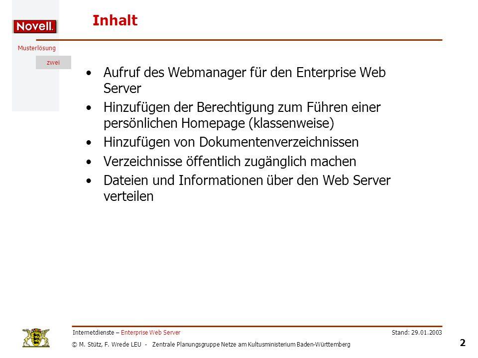 Inhalt Aufruf des Webmanager für den Enterprise Web Server