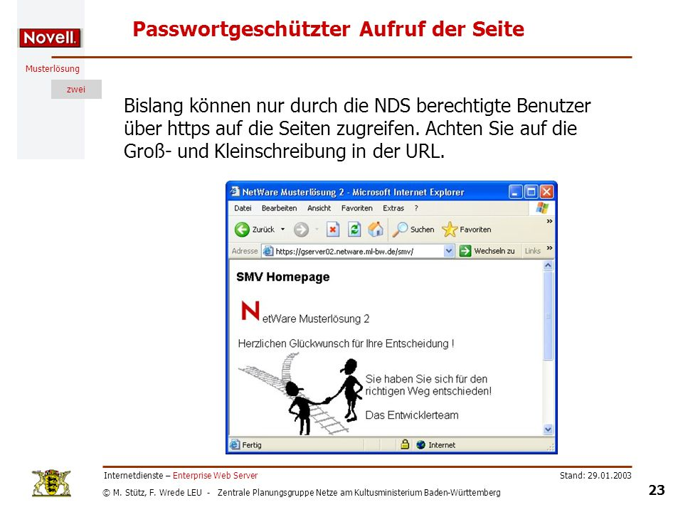 Passwortgeschützter Aufruf der Seite