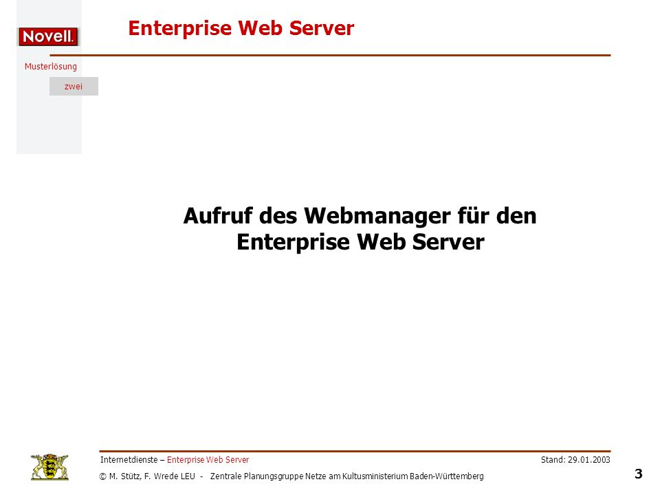 Aufruf des Webmanager für den Enterprise Web Server