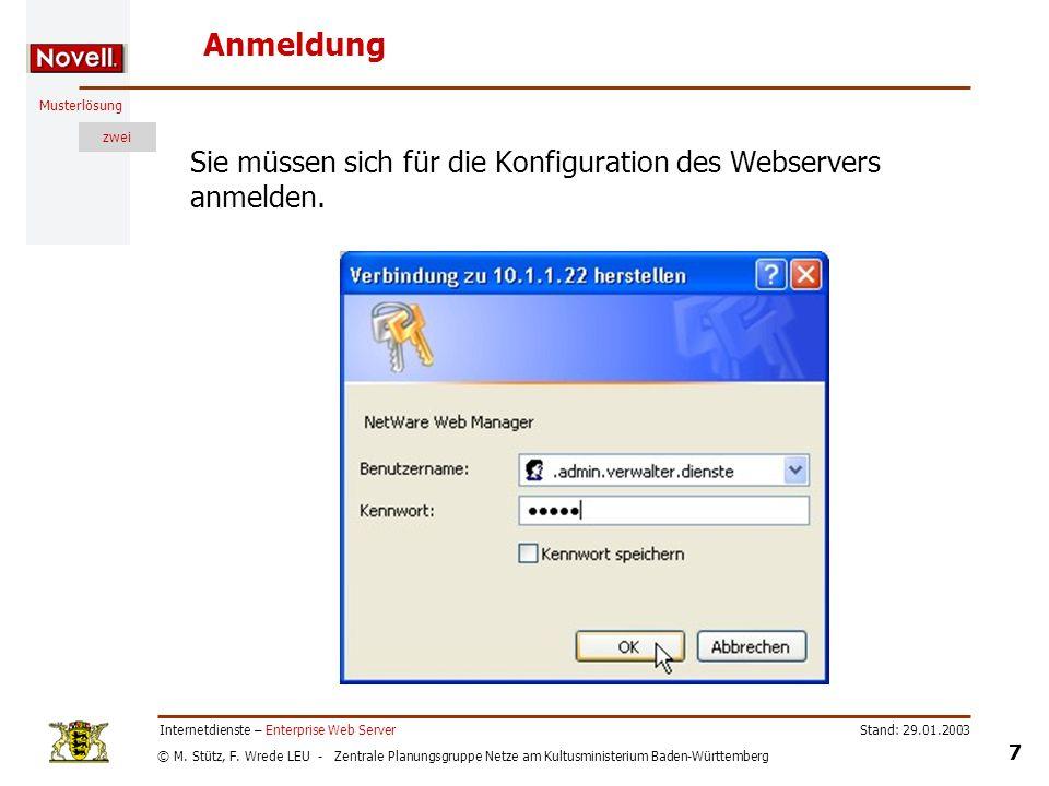 Anmeldung Sie müssen sich für die Konfiguration des Webservers anmelden. Internetdienste – Enterprise Web Server.