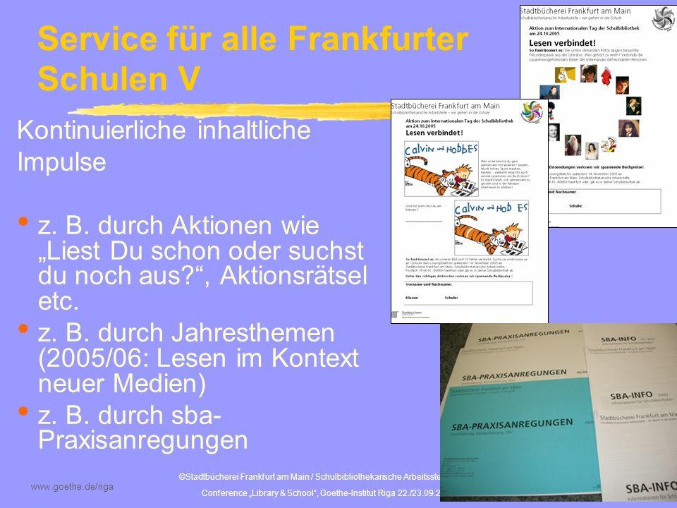 Service für alle Frankfurter Schulen V