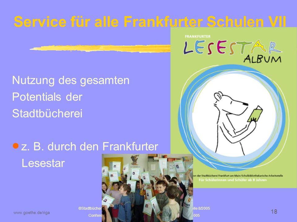 Service für alle Frankfurter Schulen VII