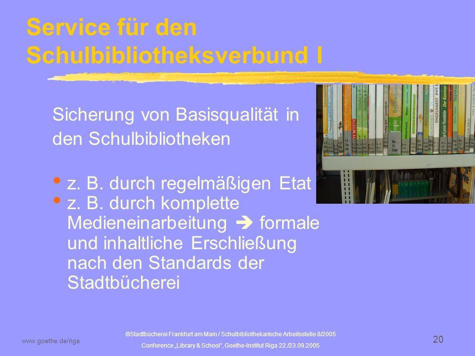 Service für den Schulbibliotheksverbund I