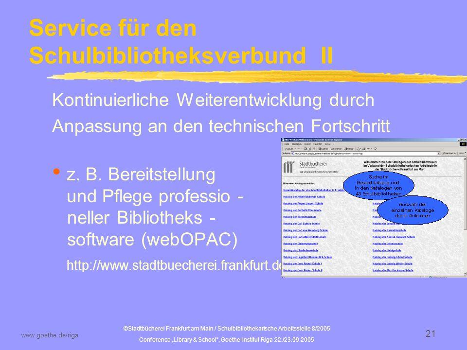 Service für den Schulbibliotheksverbund II