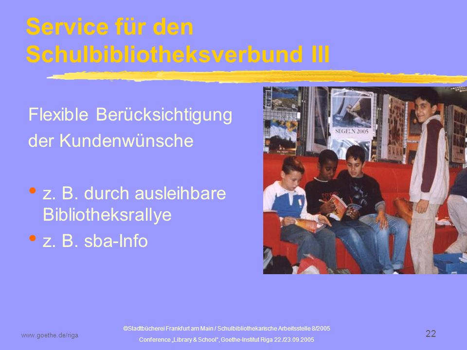 Service für den Schulbibliotheksverbund III