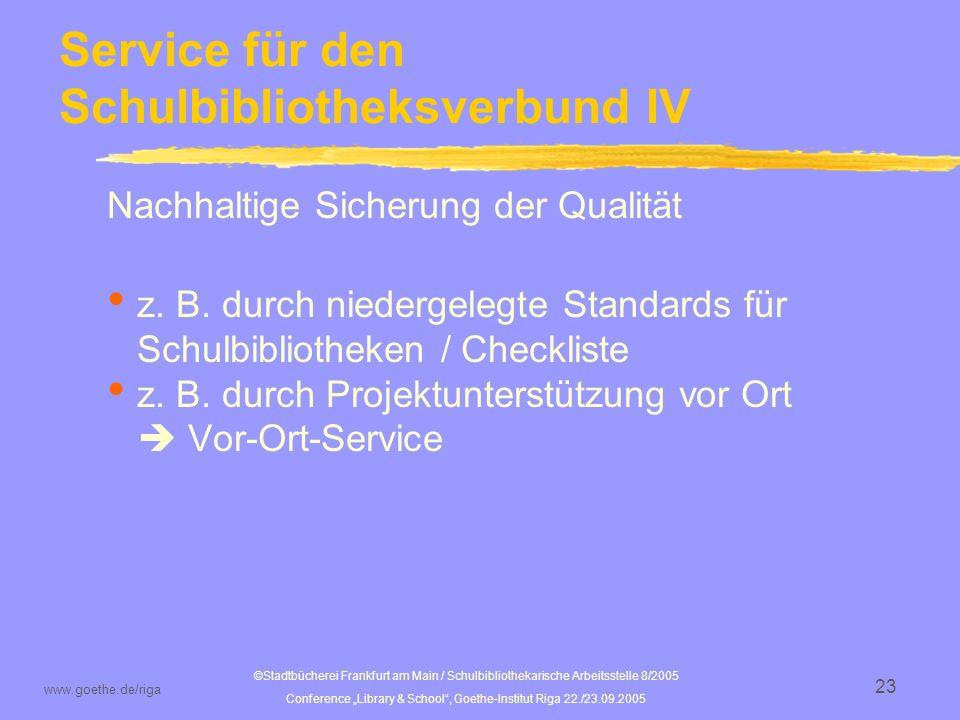 Service für den Schulbibliotheksverbund IV