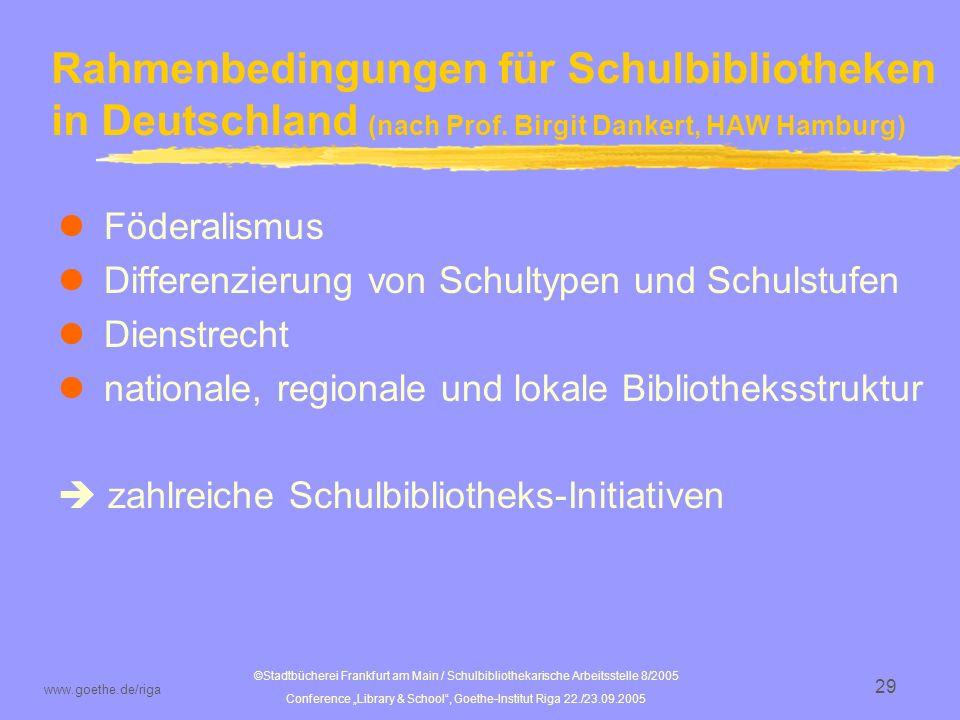 Rahmenbedingungen für Schulbibliotheken in Deutschland (nach Prof