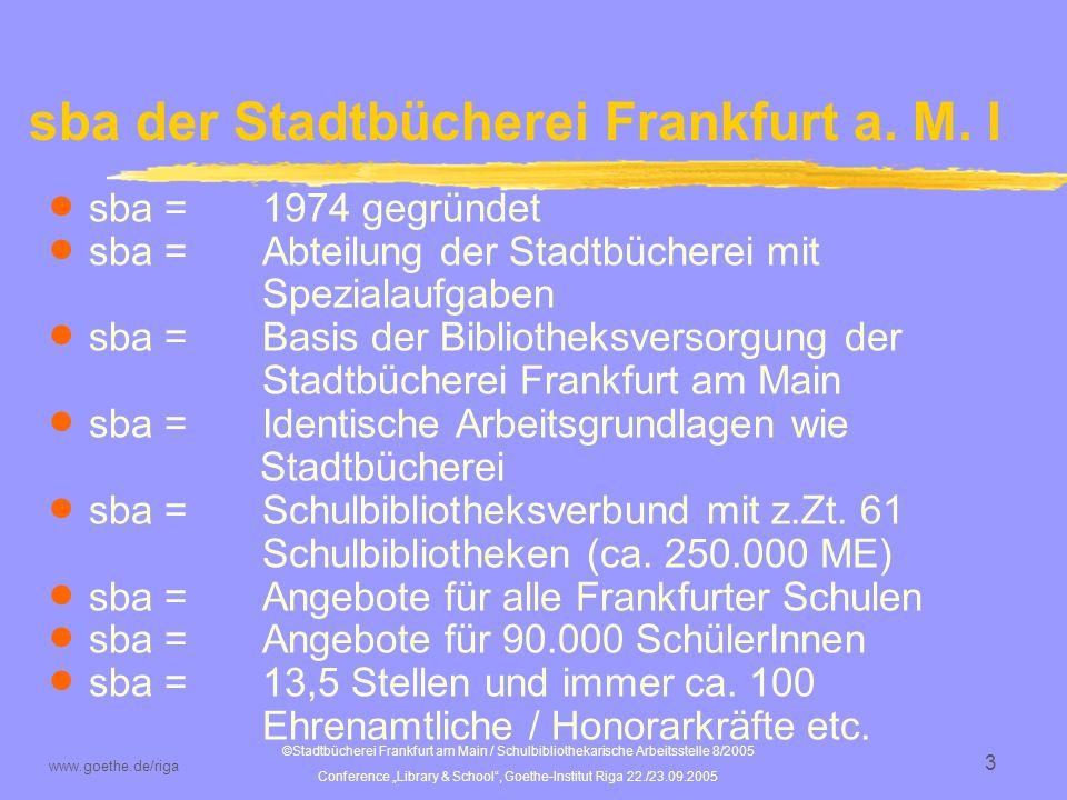 sba der Stadtbücherei Frankfurt a. M. I