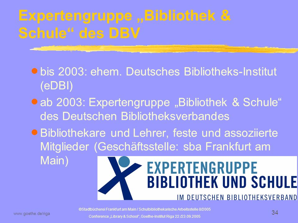"Expertengruppe ""Bibliothek & Schule des DBV"