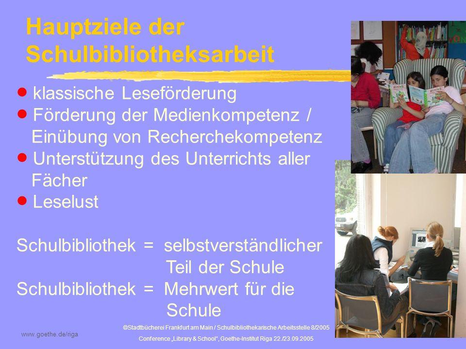 Hauptziele der Schulbibliotheksarbeit