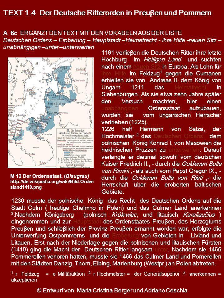 TEXT 1.4 Der Deutsche Ritterorden in Preuβen und Pommern