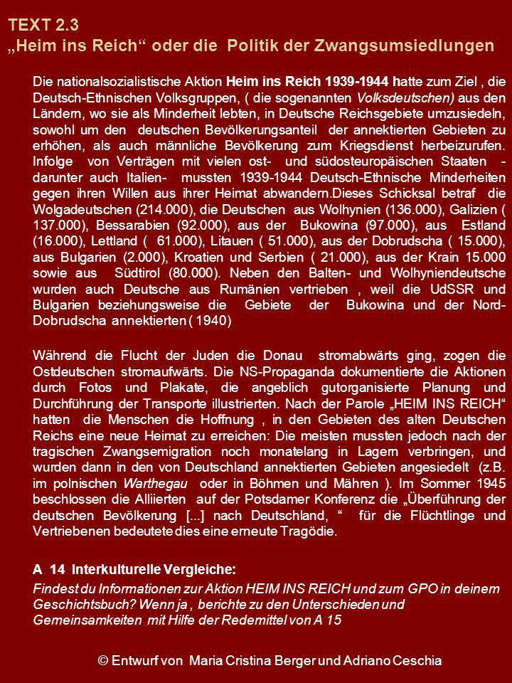 """TEXT 2.3 """"Heim ins Reich oder die Politik der Zwangsumsiedlungen"""