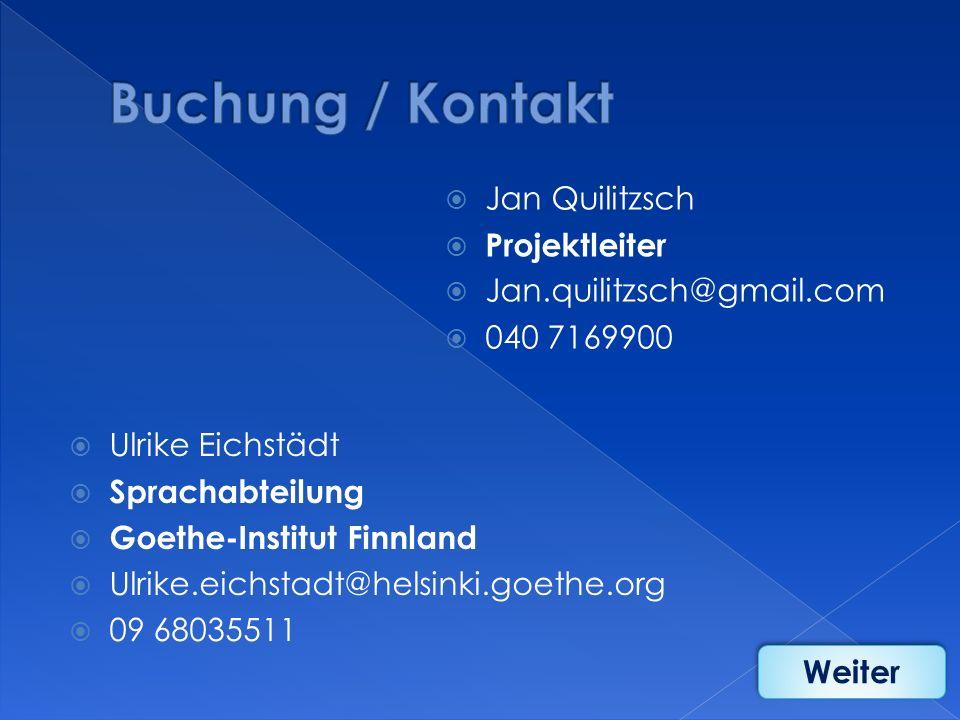 Buchung / Kontakt Jan Quilitzsch Projektleiter