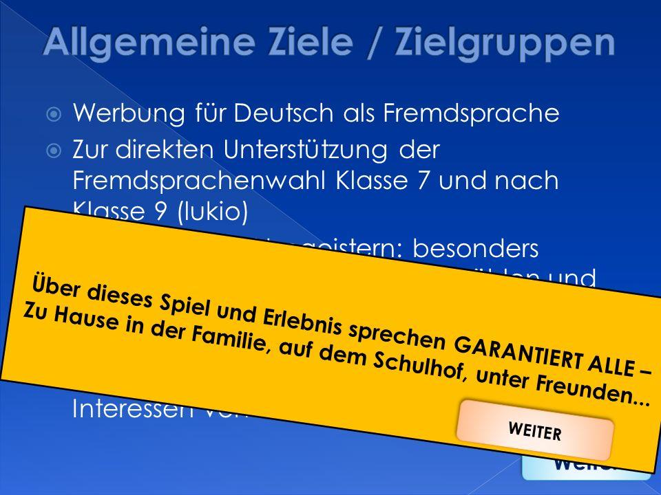 Allgemeine Ziele / Zielgruppen