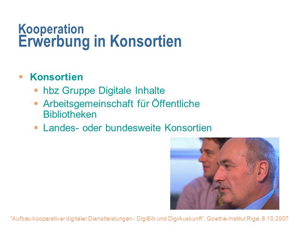 Kooperation Erwerbung in Konsortien