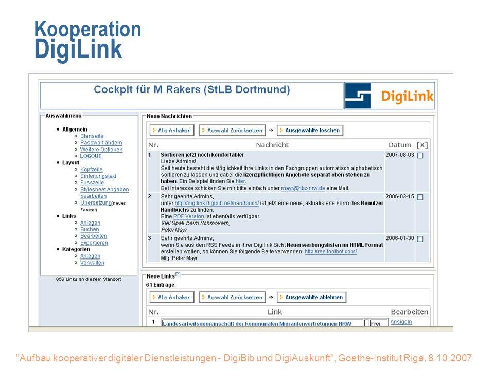 27.03.2017 Kooperation DigiLink. DigiLink. Lizensierte Datenbanken einbinden. Freie sinnvolle Links mit einbinden.
